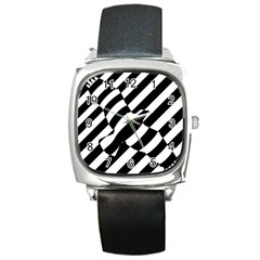 Flaying Bird Black White Square Metal Watch by AnjaniArt
