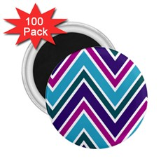 Fetching Chevron White Blue Purple Green Colors Combinations Cream Pink Pretty Peach Gray Glitter Re 2 25  Magnets (100 Pack)  by AnjaniArt