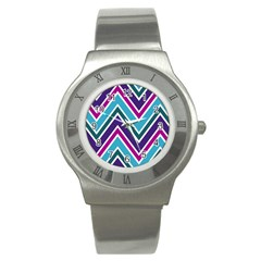 Fetching Chevron White Blue Purple Green Colors Combinations Cream Pink Pretty Peach Gray Glitter Re Stainless Steel Watch by AnjaniArt