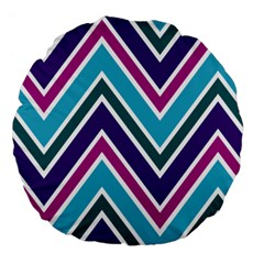 Fetching Chevron White Blue Purple Green Colors Combinations Cream Pink Pretty Peach Gray Glitter Re Large 18  Premium Flano Round Cushions by AnjaniArt