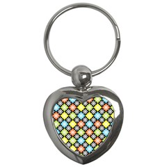 Diamond Argyle Pattern Flower Key Chains (heart)  by AnjaniArt