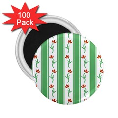 Flower Background Green 2 25  Magnets (100 Pack)  by AnjaniArt