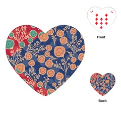 Floral Red Blue Flower Playing Cards (heart)  by AnjaniArt