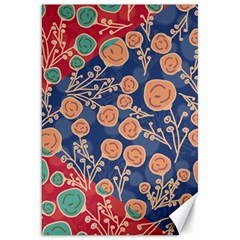 Floral Red Blue Flower Canvas 20  X 30   by AnjaniArt