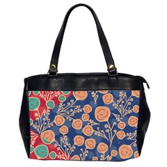 Floral Red Blue Flower Office Handbags (2 Sides)  by AnjaniArt