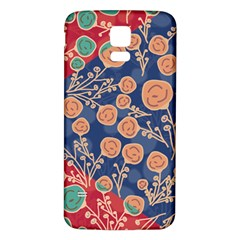 Floral Red Blue Flower Samsung Galaxy S5 Back Case (white) by AnjaniArt