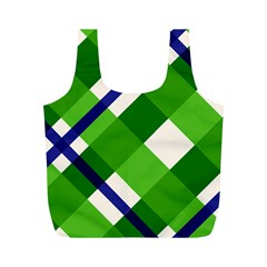 Green Plaid Full Print Recycle Bags (m)  by AnjaniArt