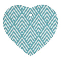 Geometric Blue Heart Ornament (2 Sides) by AnjaniArt