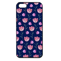 Flower Tulip Floral Pink Blue Apple Iphone 5 Seamless Case (black) by AnjaniArt