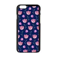 Flower Tulip Floral Pink Blue Apple Iphone 6/6s Black Enamel Case by AnjaniArt