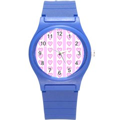 Heart Pink Valentine Day Round Plastic Sport Watch (s) by AnjaniArt