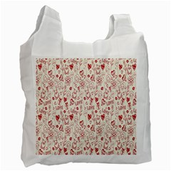 Heart Surface Kiss Flower Bear Love Valentine Day Recycle Bag (two Side)  by AnjaniArt