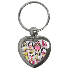 Illustration Seamless Colourful Owl Pattern Key Chains (heart)  by AnjaniArt