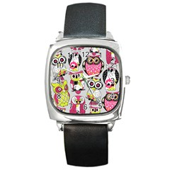 Illustration Seamless Colourful Owl Pattern Square Metal Watch by AnjaniArt