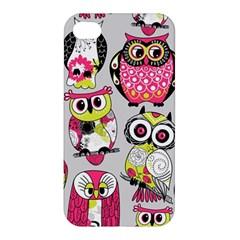 Illustration Seamless Colourful Owl Pattern Apple Iphone 4/4s Premium Hardshell Case by AnjaniArt