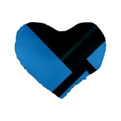 Lines Textur  Stripes Blue Standard 16  Premium Heart Shape Cushions by AnjaniArt