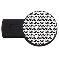 Seamless Honeycomb Pattern Usb Flash Drive Round (4 Gb)