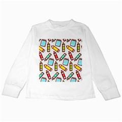 Seamless Pixel Art Pattern Kids Long Sleeve T Shirts
