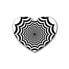 Spider Web Hypnotic Rubber Coaster (heart)  by Amaryn4rt
