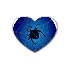 Spider On Web Rubber Coaster (heart)  by Amaryn4rt
