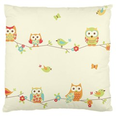 Owl Butterfly Bird Large Flano Cushion Case (two Sides) by AnjaniArt