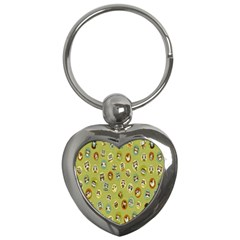 Owl Round Green Key Chains (heart)  by AnjaniArt