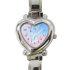 Pink Colour Heart Italian Charm Watch by AnjaniArt