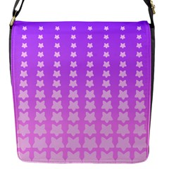 Purple And Pink Stars Line Flap Messenger Bag (s) by AnjaniArt