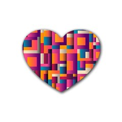 Abstract Background Geometry Blocks Rubber Coaster (heart)  by Amaryn4rt