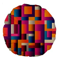 Abstract Background Geometry Blocks Large 18  Premium Round Cushions by Amaryn4rt