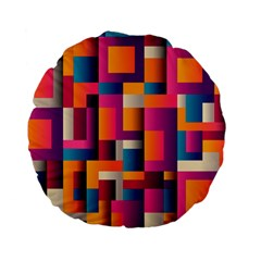 Abstract Background Geometry Blocks Standard 15  Premium Flano Round Cushions by Amaryn4rt