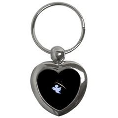 Ghost Night Night Sky Small Sweet Key Chains (heart)  by Amaryn4rt