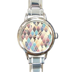 Abstract Colorful Background Tile Round Italian Charm Watch