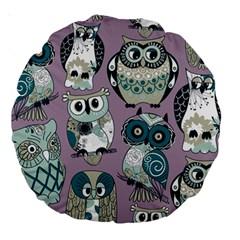 Seamless Owl Pattern Purple Large 18  Premium Round Cushions by AnjaniArt