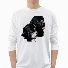 Newfoundland Painting White Long Sleeve T Shirts by TailWags