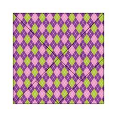 Purple Green Argyle Background Acrylic Tangram Puzzle (6  X 6 ) by AnjaniArt