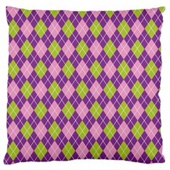 Purple Green Argyle Background Large Cushion Case (two Sides) by AnjaniArt