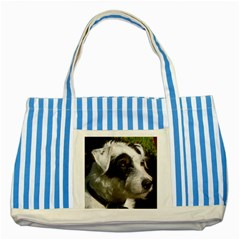 Parson Russell Terrier Striped Blue Tote Bag by TailWags