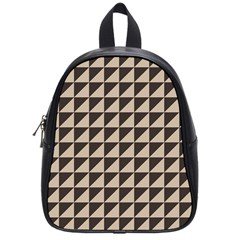 Brown Triangles Background Pattern  School Bags (small)
