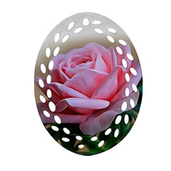 Rose Pink Flowers Pink Saturday Oval Filigree Ornament (2 Side)  by Amaryn4rt