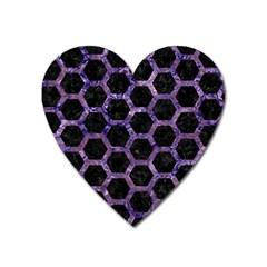 Hexagon2 Black Marble & Purple Marble Magnet (heart) by trendistuff