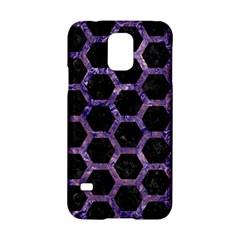 Hexagon2 Black Marble & Purple Marble Samsung Galaxy S5 Hardshell Case  by trendistuff