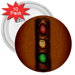 Traffic Light Green Red Yellow 3  Buttons (10 Pack)  by AnjaniArt