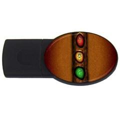 Traffic Light Green Red Yellow Usb Flash Drive Oval (4 Gb)  by AnjaniArt