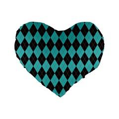 Tumblr Static Argyle Pattern Blue Black Standard 16  Premium Heart Shape Cushions by AnjaniArt