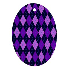 Tumblr Static Argyle Pattern Blue Purple Ornament (oval)  by AnjaniArt