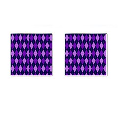 Tumblr Static Argyle Pattern Blue Purple Cufflinks (square) by AnjaniArt