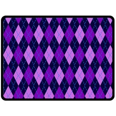 Tumblr Static Argyle Pattern Blue Purple Double Sided Fleece Blanket (Large)  by AnjaniArt