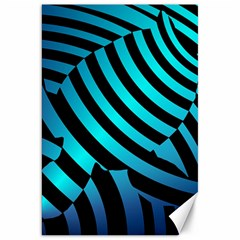 Turtle Swimming Black Blue Sea Canvas 20  X 30   by AnjaniArt