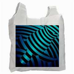 Turtle Swimming Black Blue Sea Recycle Bag (One Side) by AnjaniArt